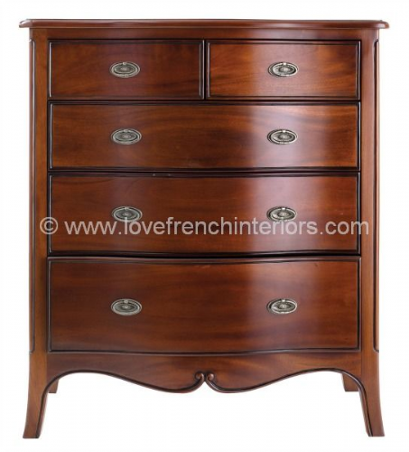 Paris Mahogany Five Drawer Chest
